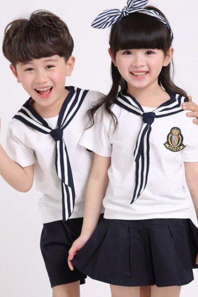 Đồng phục học sinh sinh viên – Đồng phục học sinh cấp I váy, quần đen, áo thun cổ tròn trắng 11