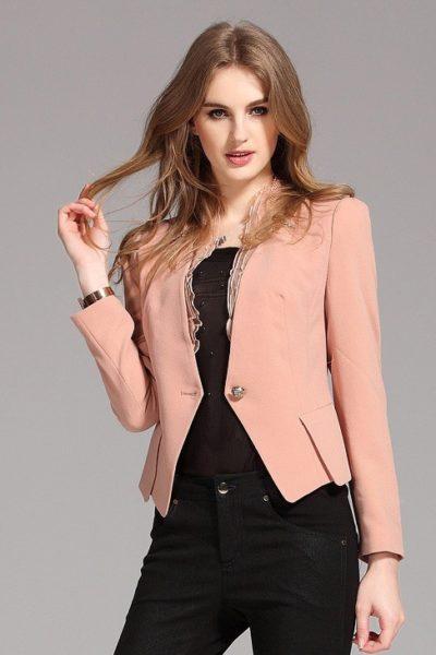 Đồng phục công sở – Áo vest nữ màu hồng 11
