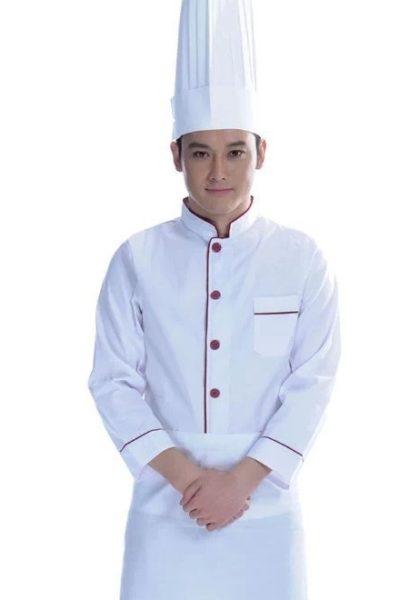 Đồng phục nhà hàng khách sạn – Đồng phục bếp áo trắng viền đỏ 11
