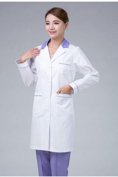 Đồng phục bệnh viện – Đồng phục áo blouse nữ màu trắng tay dài 12