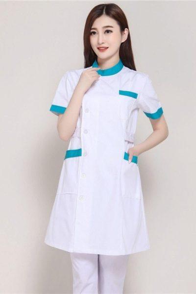 Đồng phục bệnh viện – Đồng phục y tá màu trắng phối xanh tay ngắn 12