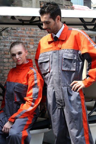 Đồng phục bảo hộ lao động – Quần áo bảo hộ lao động màu xám phối cam tay dài 12
