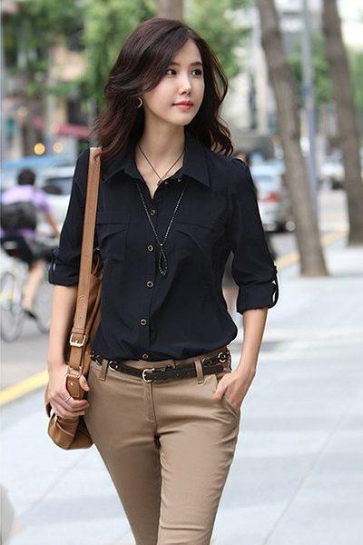 Đồng phục công sở – Áo sơ mi nữ màu đen tay dài 09