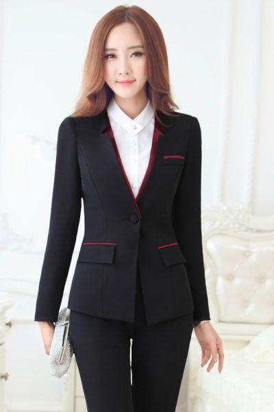 Đồng phục công sở – Áo vest nữ màu đen 12