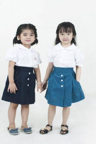 Đồng phục học sinh sinh viên – Đồng phục học sinh cấp I chân váy có nút, áo sơ mi trắng 13