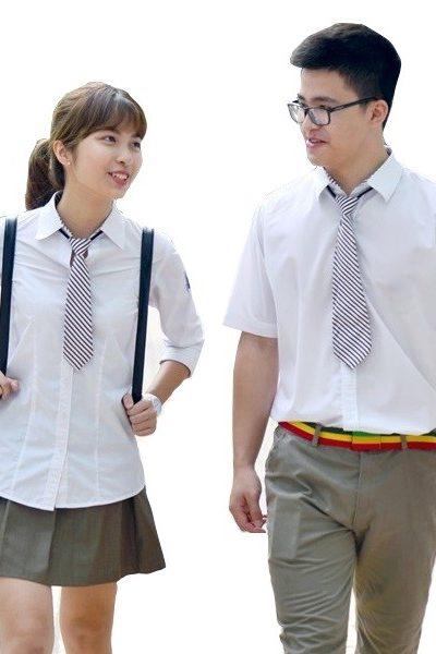 Đồng phục học sinh sinh viên – Đồng phục học sinh cấp II váy, quần xám, áo sơ mi trắng, caravat sọc 13