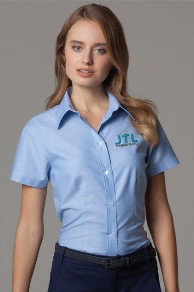 Đồng phục công sở – Áo sơ mi nữ màu xanh tay ngắn 13