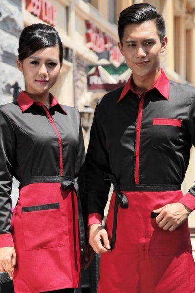 Đồng phục nhà hàng khách sạn – Đồng phục pha chế tạp dề đỏ phối đen, áo sơ mi đen phối đỏ 13
