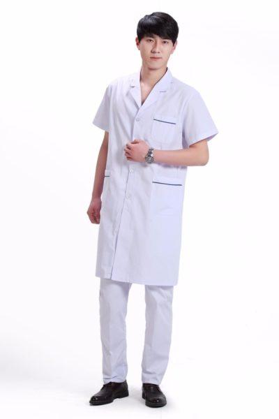 Đồng phục bệnh viện – Đồng phục áo blouse nam màu trắng tay ngắn 14