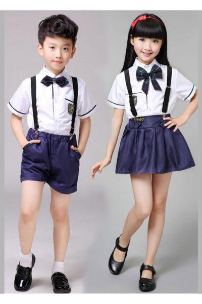 Đồng phục học sinh sinh viên – Đồng phục học sinh cấp I váy, quần tím, áo sơ mi trắng 14