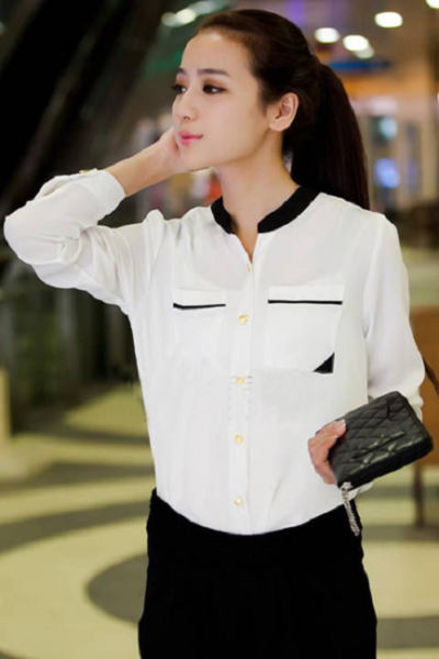 Đồng phục công sở – Áo sơ mi nữ màu trắng cổ đen dài tay 14
