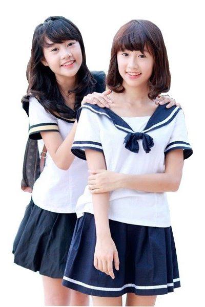 Đồng phục học sinh sinh viên – Đồng phục học sinh cấp II váy xanh sọc trắng, áo trắng cổ tròn phối xanh 15