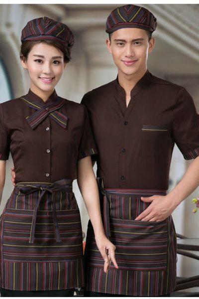 Đồng phục nhà hàng khách sạn – Đồng phục pha chế tạp dề sọc, áo sơ mi nâu 15