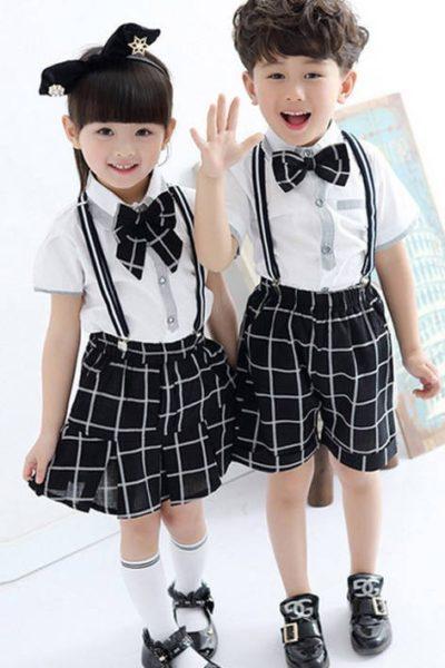 Đồng phục học sinh sinh viên – Đồng phục học sinh cấp I váy, quần đen caro áo sơ mi trắng tay ngắn 16