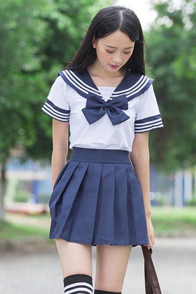 Đồng phục học sinh sinh viên – Đồng phục học sinh cấp II váy xanh, áo trắng 07