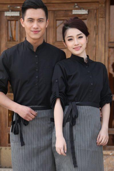 Đồng phục nhà hàng khách sạn – Đồng phục pha chế tạp dề sọc, áo sơ mi đen 16