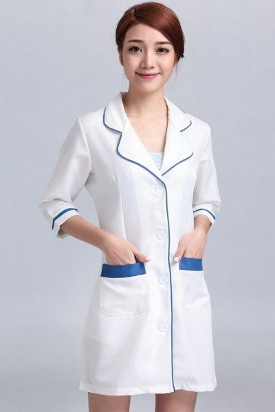 Đồng phục bệnh viện – Đồng phục áo blouse nữ màu trắng phối xanh tay ngắn  16