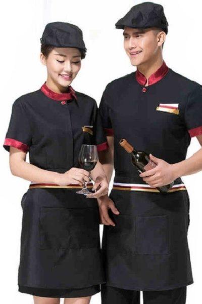 Đồng phục nhà hàng khách sạn – Đồng phục pha chế tạp dề đen, áo cổ trụ đen phối đỏ 17