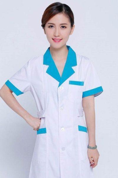 Đồng phục bệnh viện – Đồng phục áo blouse nữ màu trắng phối xanh tay ngắn 17