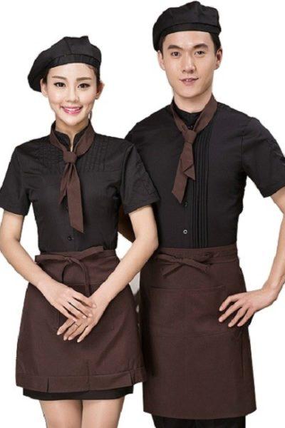 Đồng phục nhà hàng khách sạn – Đồng phục pha chế tạp dề nâu, áo sơ mi đen, cavat nâu 18