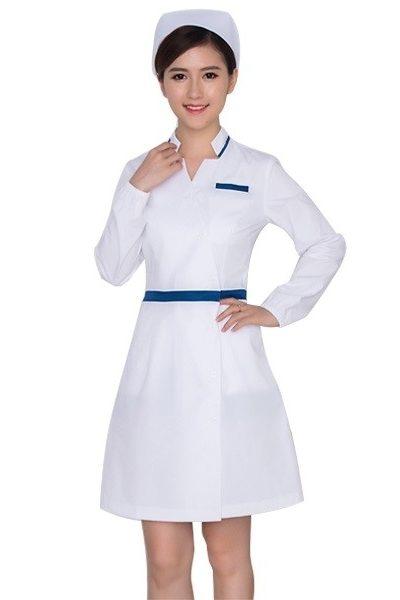 Đồng phục bệnh viện – Đồng phục y tá màu trắng phối xanh tay ngắn 19