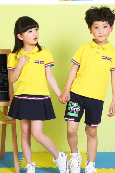 Đồng phục học sinh sinh viên – Đồng phục học sinh cấp I váy, quần đen áo thun cổ trụ vàng tay ngắn 20