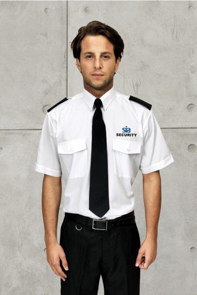 Đồng phục bảo vệ vệ sĩ – Quần áo bảo vệ vệ sỹ màu trắng tay ngắn 23