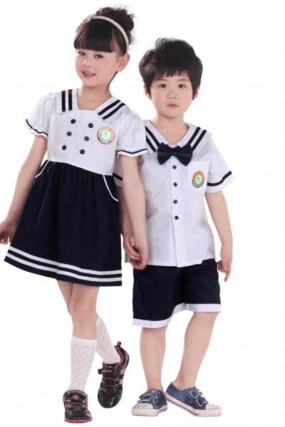 Đồng phục học sinh sinh viên – Đồng phục học sinh cấp I váy xanh, quần xanh áo trắng tay ngắn 22