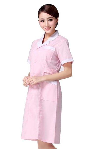 Đồng phục bệnh viện – Đồng phục y tá màu hồng phối viền trắng tay ngắn 26