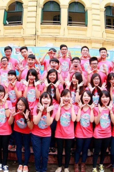 Đồng phục áo thun – Áo thun nhóm lớp cổ tròn màu hồng tay ngắn 02