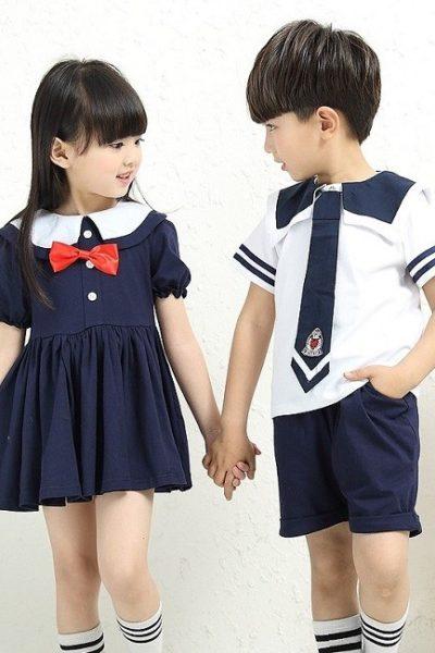 Đồng phục học sinh sinh viên – Đồng phục học sinh cấp I đầm xanh đen, quần xanh đen, áo sơ mi trắng 02