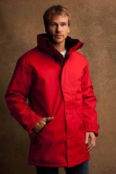 Đồng phục áo khoác – Áo khoác gió màu đỏ không nón có miếng dán 13