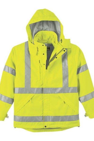 Đồng phục bảo hộ lao động bán sẵn – Áo gi lê màu vang sọc xám có nón tay dài 11