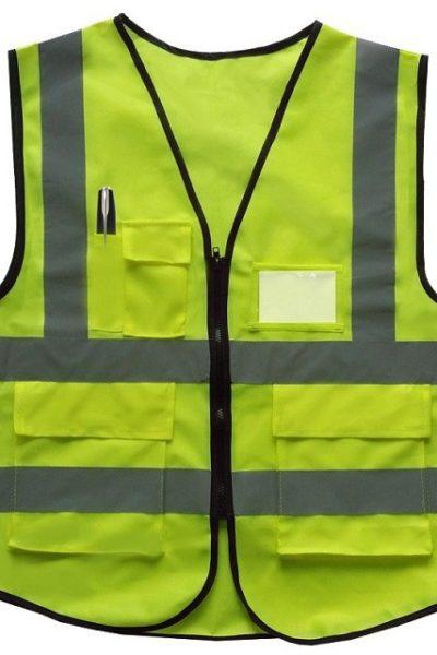 Đồng phục bảo hộ lao động bán sẵn – Áo gi lê màu xanh sọc xám không tay 10