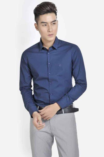 Đồng phục công sở – Áo sơ mi nam tay dài màu xanh đen 16
