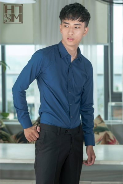 Đồng phục công sở – Áo sơ mi nam tay dài màu xanh 17
