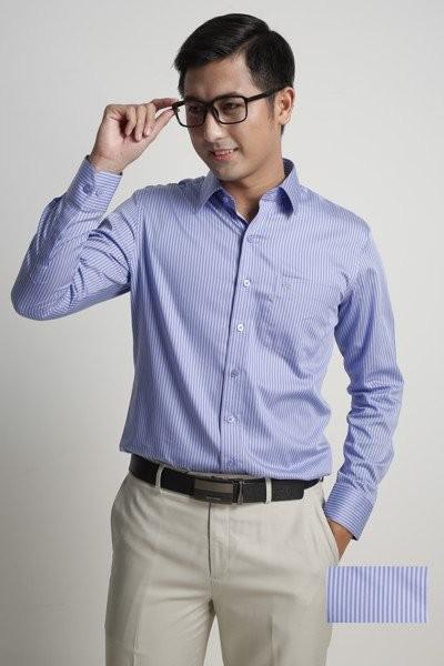Đồng phục công sở – Áo sơ mi nam tay dài sọc trắng xanh nhỏ 20