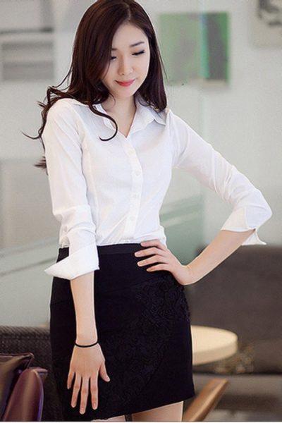 Đồng phục công sở – Áo sơ mi nữ màu trắng 22