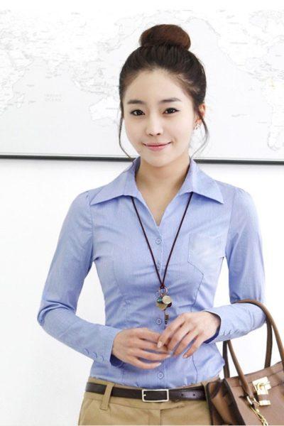Đồng phục công sở – Áo sơ mi nữ màu xanh nhạt 21