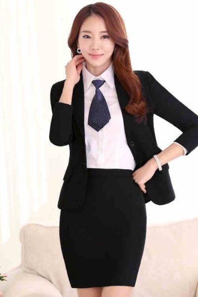 Đồng phục công sở – Áo vest nữ màu đen 22