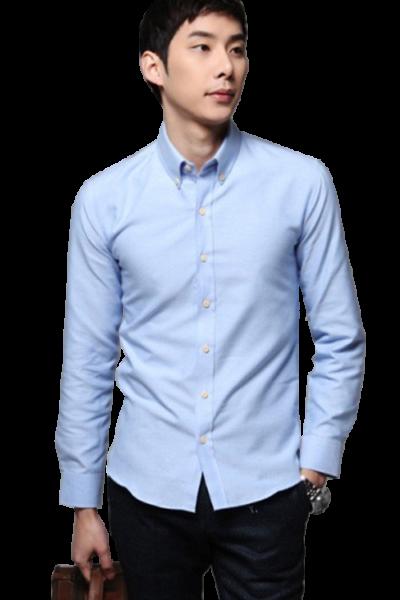 Đồng phục công sở – Áo sơ mi nam tay dài màu xanh nhạt 22