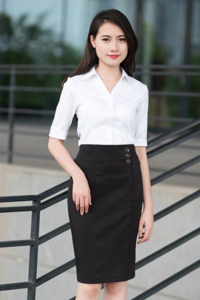 Đồng phục công sở – Chân váy ôm màu đen 08