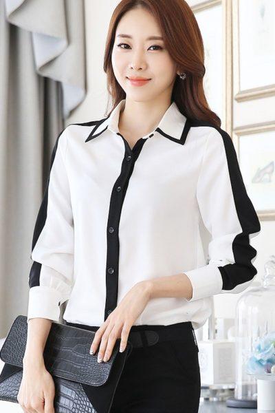 Đồng phục công sở – Áo sơ mi nữ màu trắng tay dài phối sọc đen 24