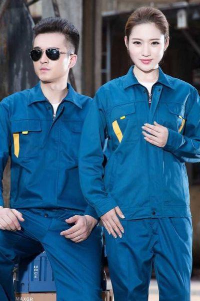 Đồng phục bảo hộ lao động – Quần áo bảo hộ lao động tay dài màu xanh 35
