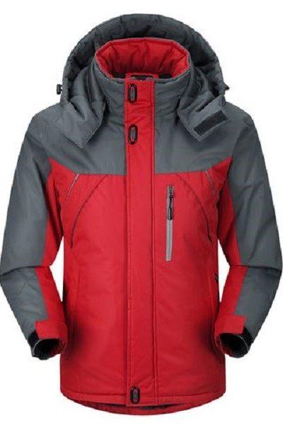 Đồng phục áo khoác – Áo khoác gió màu đỏ phối xám có nón 27