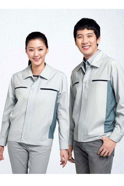 Đồng phục bảo hộ lao động – Quần áo bảo hộ lao động màu xám sáng tay dài 26