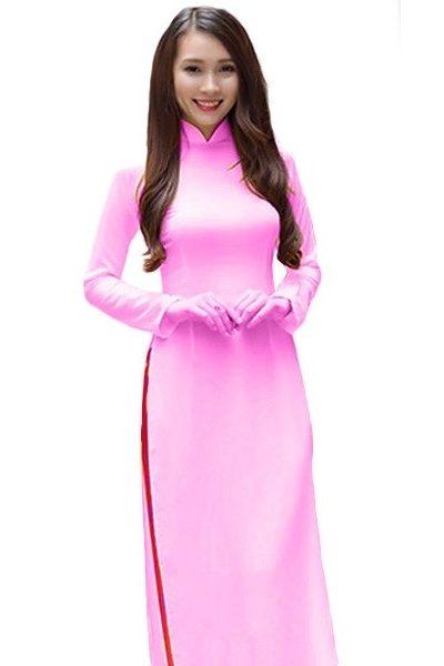 Đồng phục nhà hàng khách sạn – Đồng phục lễ tân áo dài hồng nhạt quần hồng đậm 16