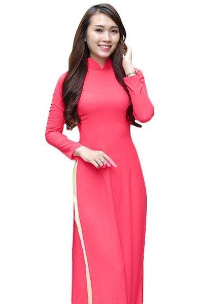 Đồng phục nhà hàng khách sạn – Đồng phục lễ tân áo dài màu hồng cánh sen quần vàng nhạt 18