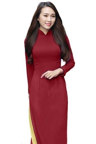 Đồng phục nhà hàng khách sạn – Đồng phục lễ tân áo dài màu đỏ đô quần vàng nhạt 29
