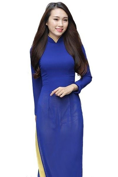 Đồng phục nhà hàng khách sạn – Đồng phục lễ tân áo dài màu xanh dương quần vàng nhạt 30